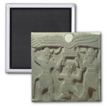 Relief depicting Gilgamesh between two 2 Inch Square Magnet