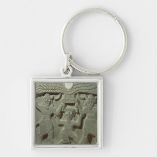 Relief depicting Gilgamesh between two Silver-Colored Square Keychain