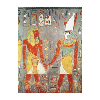 Relief depicting Horemheb  before Horus Canvas Print