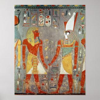 Relief depicting Horemheb  before Horus Print