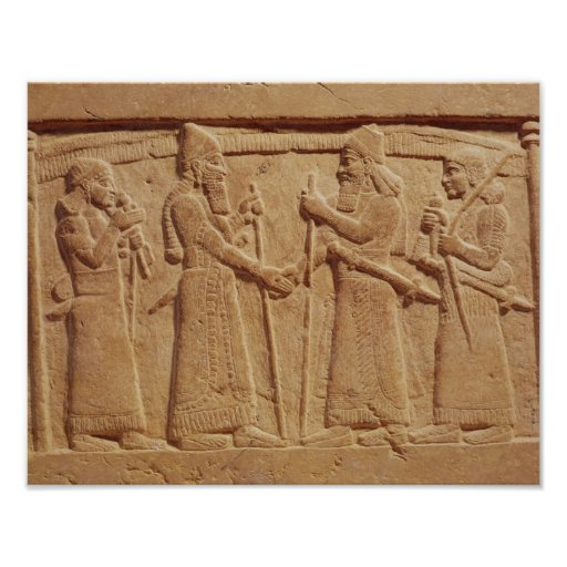 Relief depicting King Shalmaneser III Poster