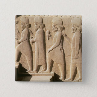 Relief depicting Median guards from stairs Pinback Button