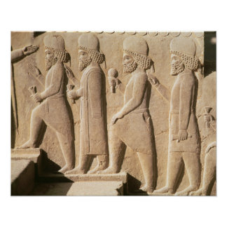 Relief depicting Median guards from stairs Poster
