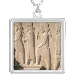 Relief depicting Median guards from stairs Silver Plated Necklace
