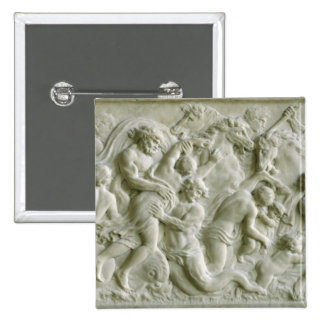 Relief depicting nereids carried away by tritons pinback button