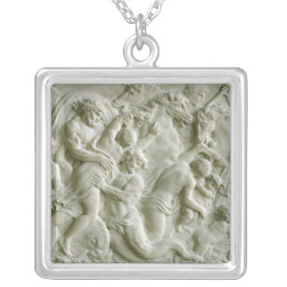 Relief depicting nereids carried away by tritons square pendant necklace