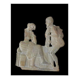 Relief depicting Odysseus and Penelope Poster