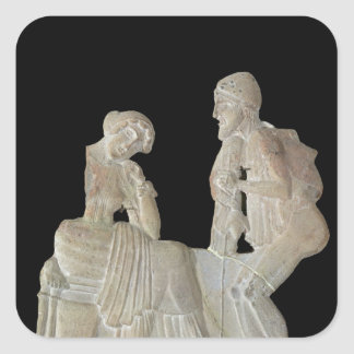 Relief depicting Odysseus and Penelope Square Sticker