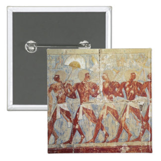 Relief depicting parade in honour of Hathor Pinback Button