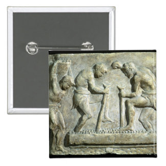 Relief depicting pavers pinback button