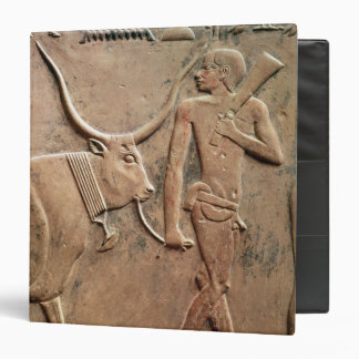Relief depicting peasant leading cow to 3 ring binder