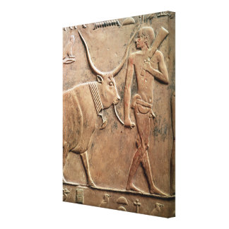 Relief depicting peasant leading cow to canvas print