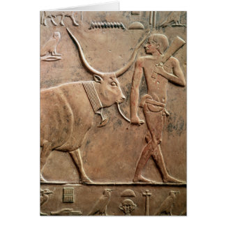 Relief depicting peasant leading cow to card