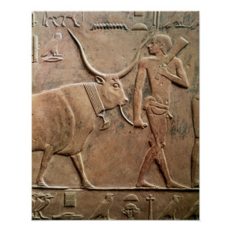 Relief depicting peasant leading cow to poster