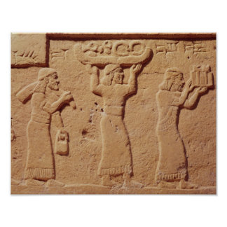 Relief depicting porters laden with gifts poster