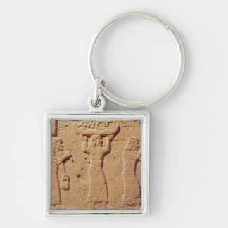 Relief depicting porters laden with gifts Silver-Colored square keychain