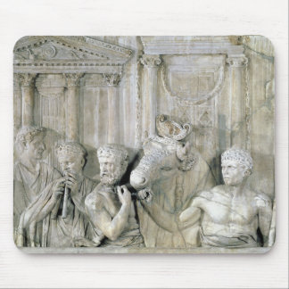 Relief depicting preparations for a sacrifice mouse pad
