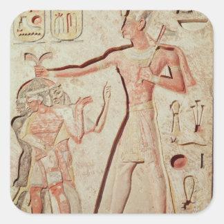 Relief depicting Ramesses II  smiting enemies Square Sticker
