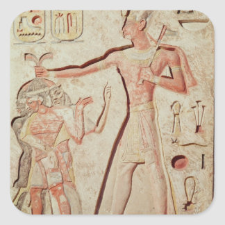 Relief depicting Ramesses II  smiting enemies Square Stickers