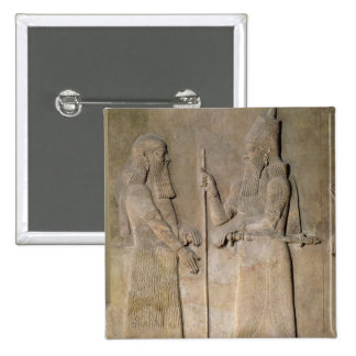 Relief depicting Sargon II  and a vizier 2 Inch Square Button