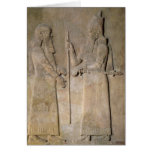 Relief depicting Sargon II  and a vizier Greeting Card