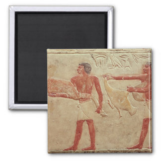 Relief depicting servants 2 inch square magnet