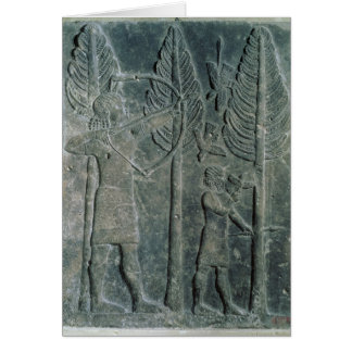 Relief depicting the hunting of birds in the greeting card
