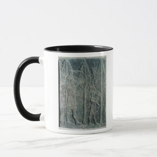 Relief depicting the hunting of birds in the mug