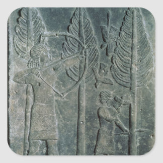 Relief depicting the hunting of birds in the square stickers