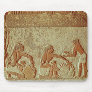 Relief depicting the making and baking of bread mouse pad