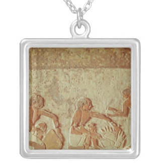 Relief depicting the making and baking of bread personalized necklace