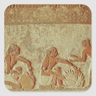 Relief depicting the making and baking of bread square sticker