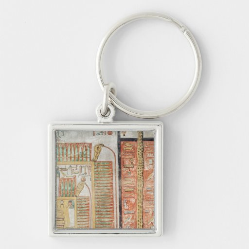 Relief depicting the path which dead must Silver-Colored square keychain
