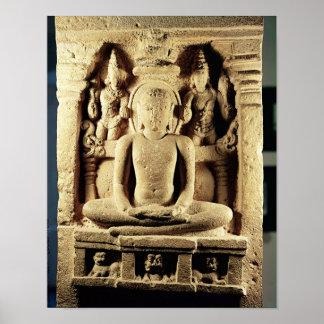 Relief depicting Tirthankara Mahavira Posters
