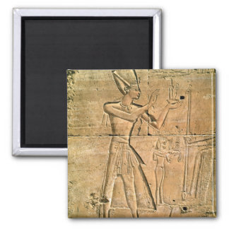 Relief depicting Tuthmosis III  making an 2 Inch Square Magnet
