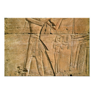 Relief depicting Tuthmosis III  making an Poster