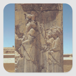 Relief depicting Xerxes I  with two attendants Square Sticker