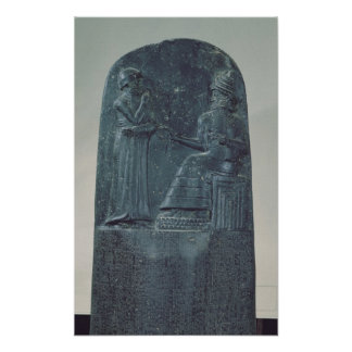 Relief Figure of the God Shamash dictating laws Poster