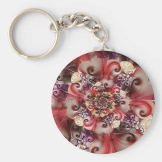 Relief Flower designed by Tutti Basic Round Button Keychain
