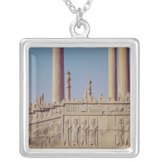 Relief frieze on the front of the eastern silver plated necklace