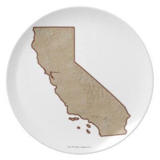Relief Map of California Dinner Plates