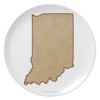 Relief Map of Indiana 2 Dinner Plates
