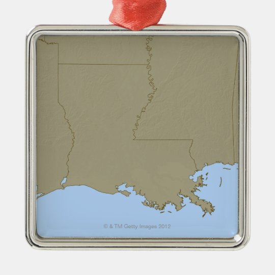 Relief Map of Louisiana Metal Ornament