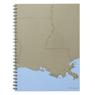 Relief Map of Louisiana Notebook