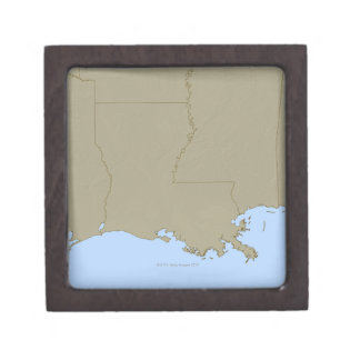 Relief Map of Louisiana Premium Jewelry Box