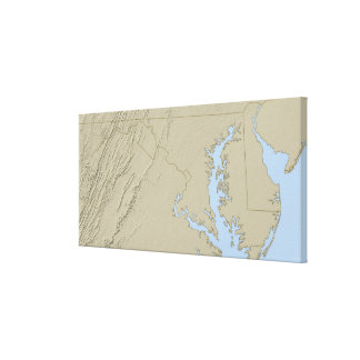 Relief Map of Maryland Canvas Print