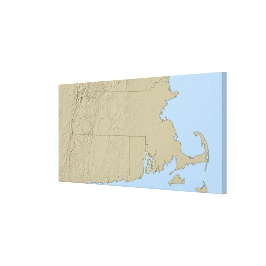 Relief Map of Massachusetts Canvas Print