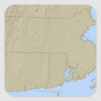 Relief Map of Massachusetts Square Sticker