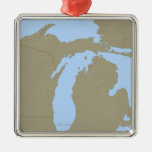 Relief Map of Michigan Christmas Tree Ornaments