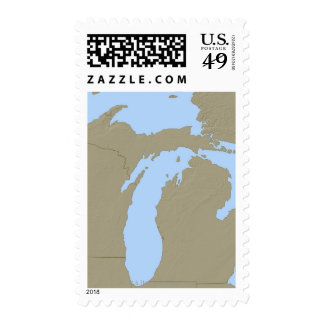 Relief Map of Michigan Postage Stamp